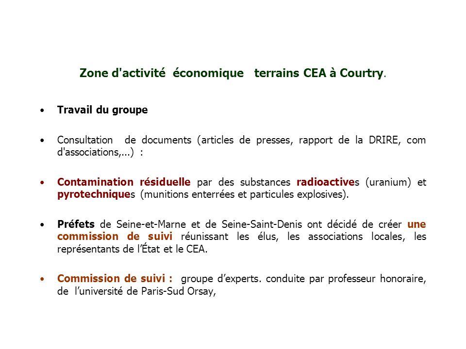 Zone d'activité économique terrains CEA à Courtry. Travail du groupe Consultation de documents (articles de presses, rapport de la DRIRE, com d'associ
