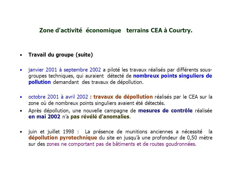 Zone d'activité économique terrains CEA à Courtry. Travail du groupe (suite) janvier 2001 à septembre 2002 a piloté les travaux réalisés par différent