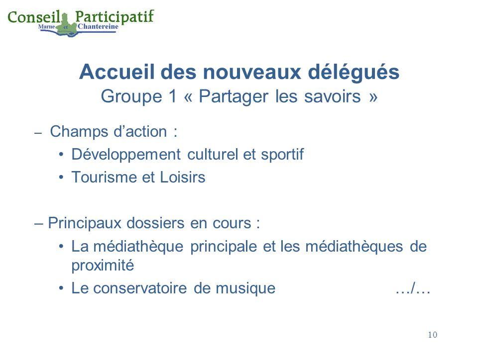 10 Accueil des nouveaux délégués Groupe 1 « Partager les savoirs » – Champs daction : Développement culturel et sportif Tourisme et Loisirs – Principa