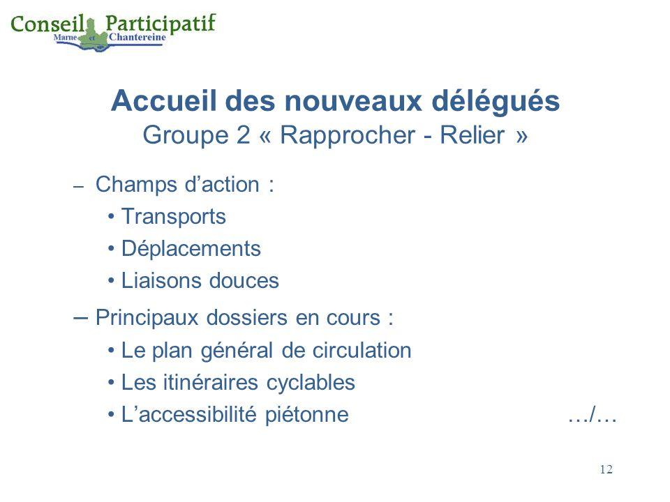 12 Accueil des nouveaux délégués Groupe 2 « Rapprocher - Relier » – Champs daction : Transports Déplacements Liaisons douces – Principaux dossiers en