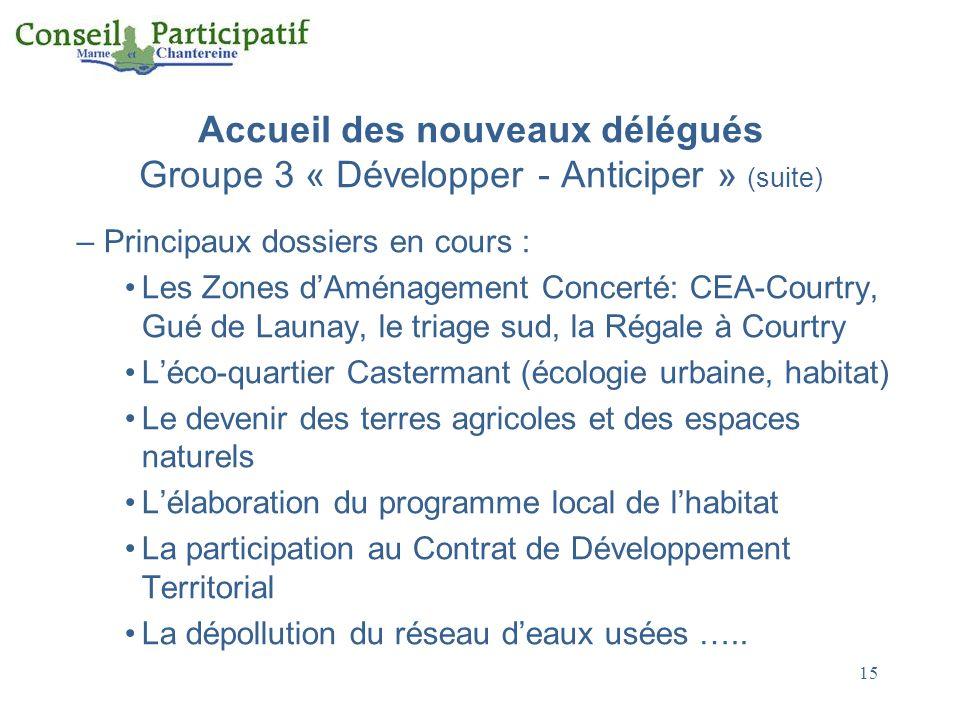 15 Accueil des nouveaux délégués Groupe 3 « Développer - Anticiper » (suite) – Principaux dossiers en cours : Les Zones dAménagement Concerté: CEA-Cou