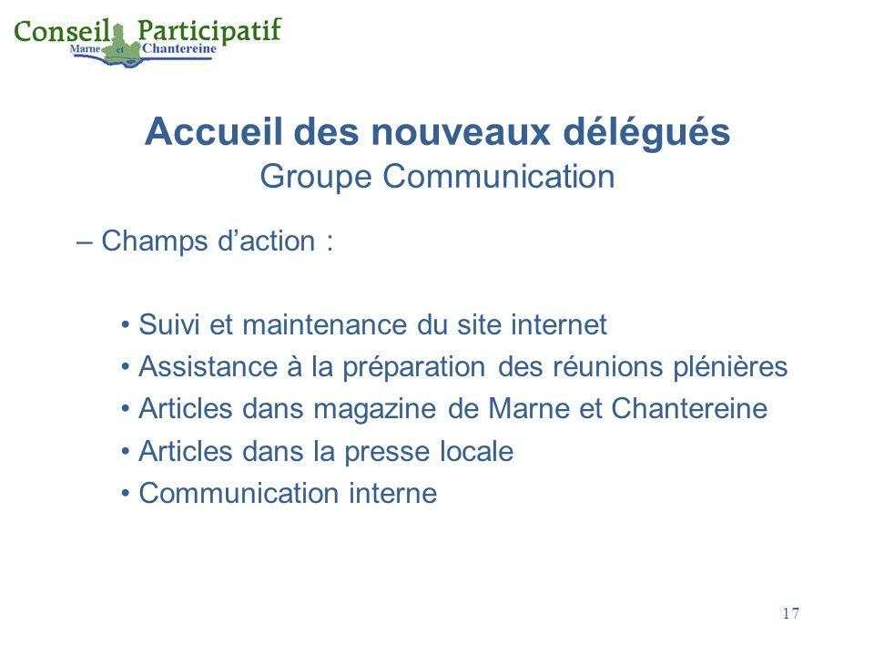 17 Accueil des nouveaux délégués Groupe Communication – Champs daction : Suivi et maintenance du site internet Assistance à la préparation des réunion