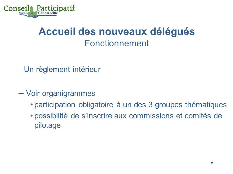 6 Accueil des nouveaux délégués Fonctionnement – Un règlement intérieur – Voir organigrammes participation obligatoire à un des 3 groupes thématiques