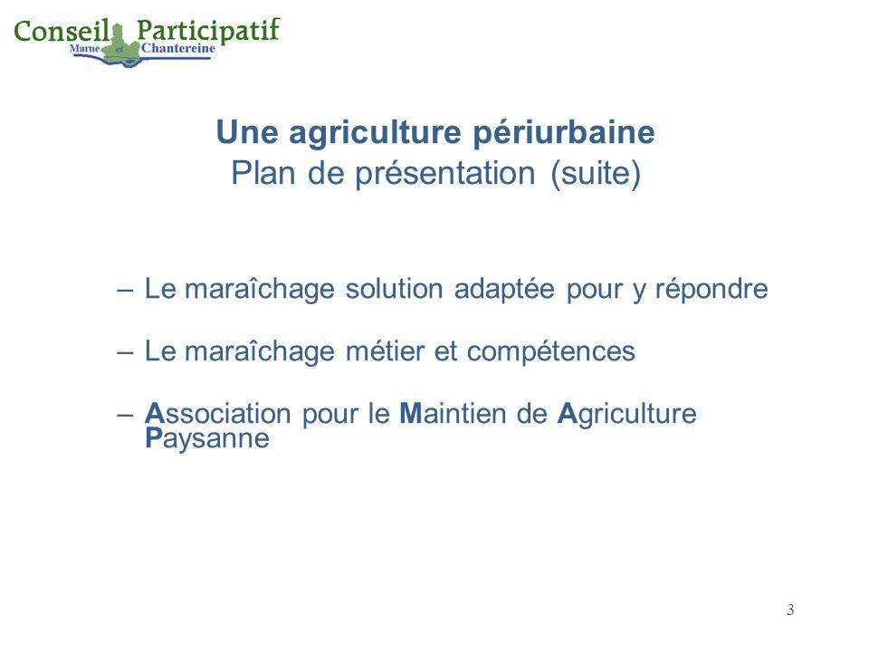 Une agriculture périurbaine Plan de présentation (suite) –Le maraîchage solution adaptée pour y répondre –Le maraîchage métier et compétences –Associa