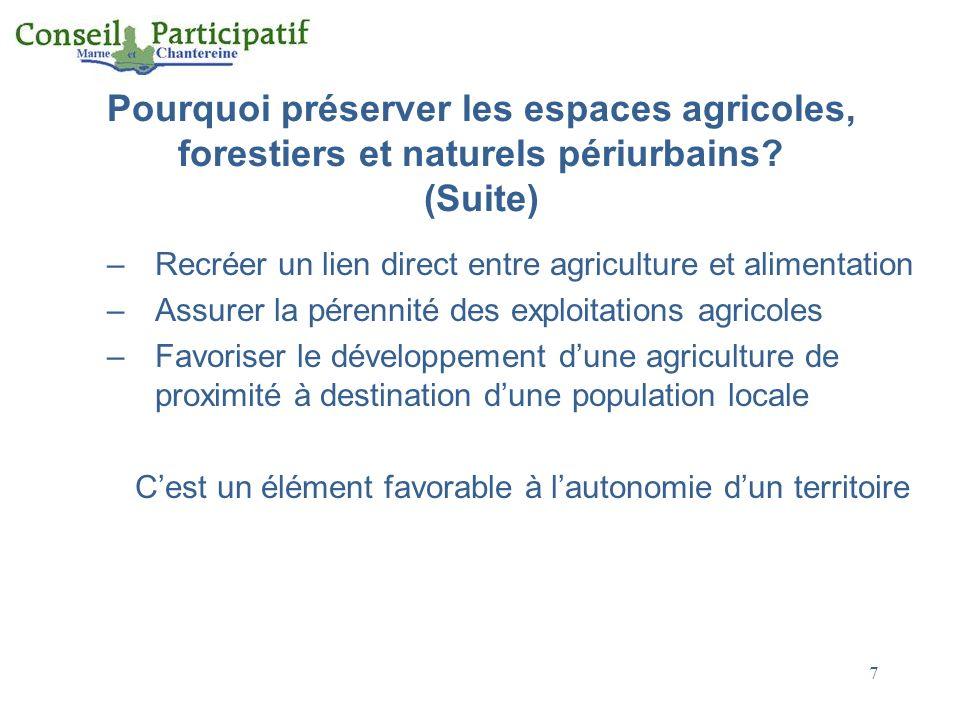 Pourquoi préserver les espaces agricoles, forestiers et naturels périurbains? (Suite) –Recréer un lien direct entre agriculture et alimentation –Assur