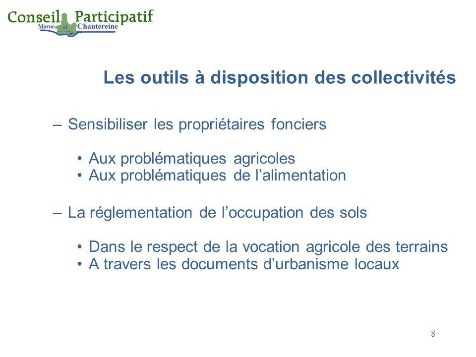 Les outils à disposition des collectivités –Sensibiliser les propriétaires fonciers Aux problématiques agricoles Aux problématiques de lalimentation –