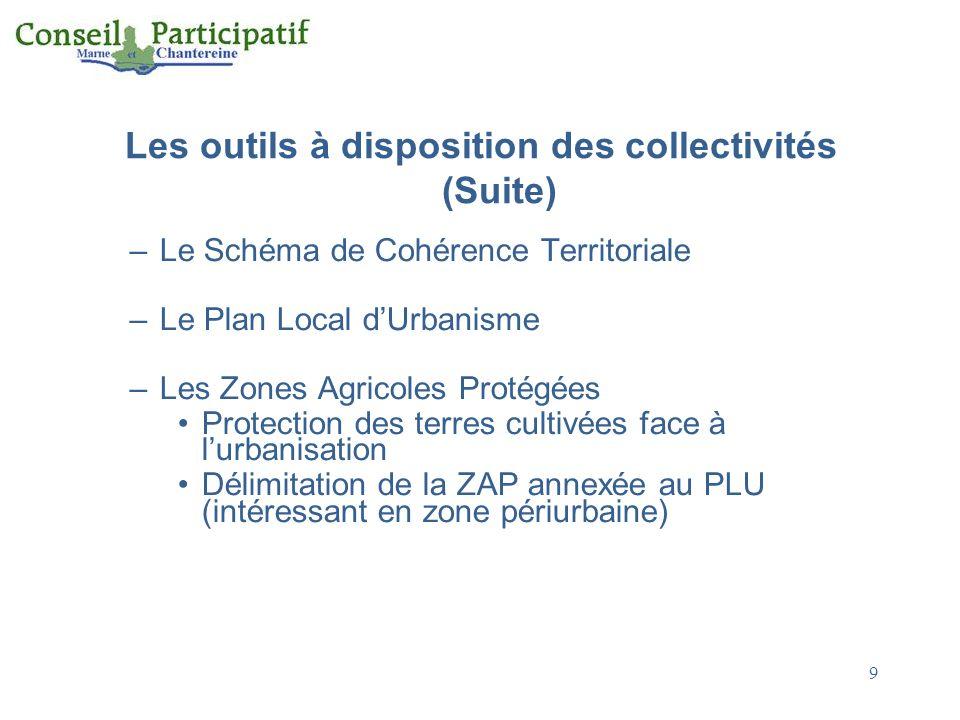 Les outils à disposition des collectivités (Suite) –Le Schéma de Cohérence Territoriale –Le Plan Local dUrbanisme –Les Zones Agricoles Protégées Prote