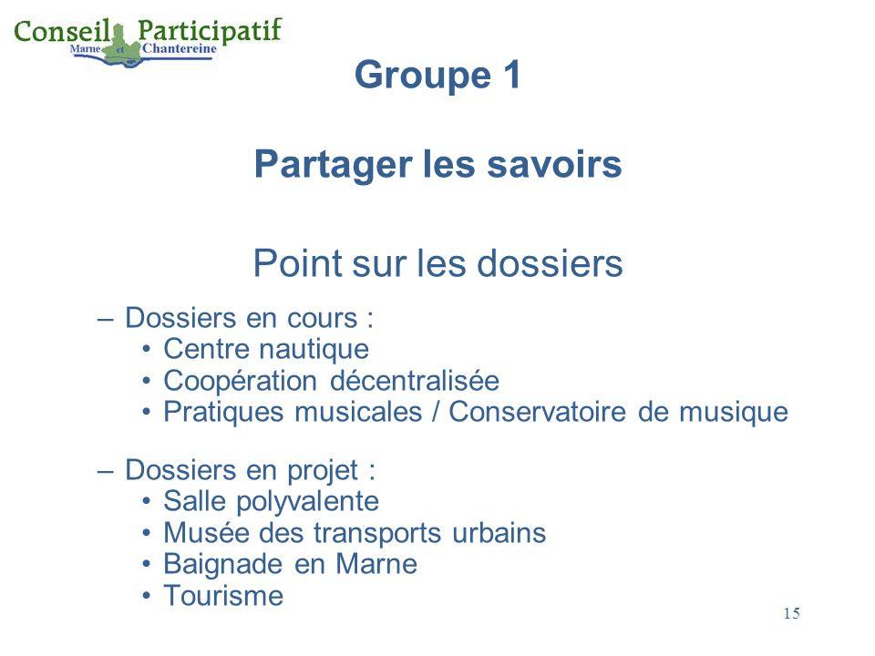 15 Groupe 1 Partager les savoirs Point sur les dossiers –Dossiers en cours : Centre nautique Coopération décentralisée Pratiques musicales / Conservat