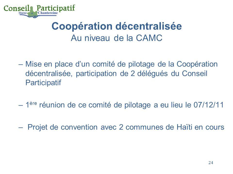 24 Coopération décentralisée Au niveau de la CAMC –Mise en place dun comité de pilotage de la Coopération décentralisée, participation de 2 délégués du Conseil Participatif –1 ère réunion de ce comité de pilotage a eu lieu le 07/12/11 – Projet de convention avec 2 communes de Haïti en cours