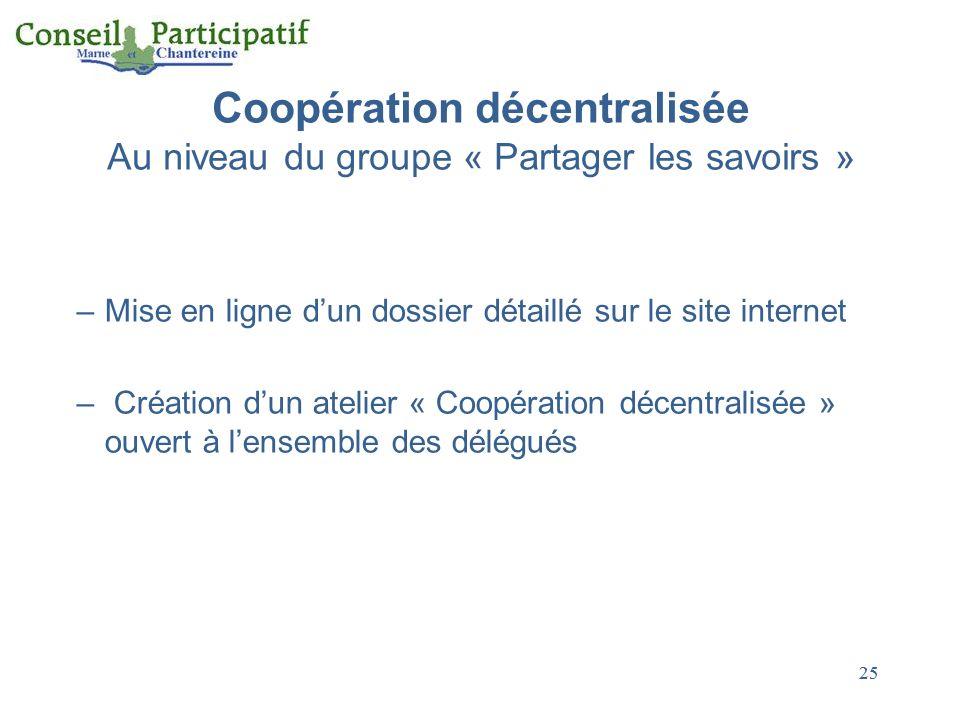 25 Coopération décentralisée Au niveau du groupe « Partager les savoirs » –Mise en ligne dun dossier détaillé sur le site internet – Création dun atel