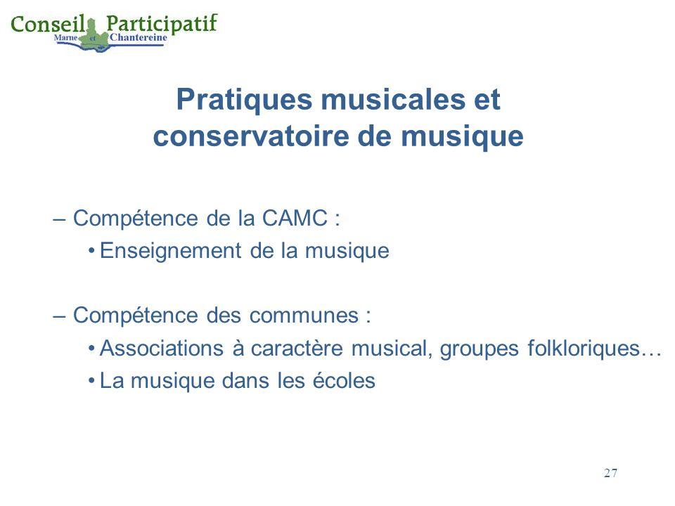 27 Pratiques musicales et conservatoire de musique –Compétence de la CAMC : Enseignement de la musique –Compétence des communes : Associations à caractère musical, groupes folkloriques… La musique dans les écoles
