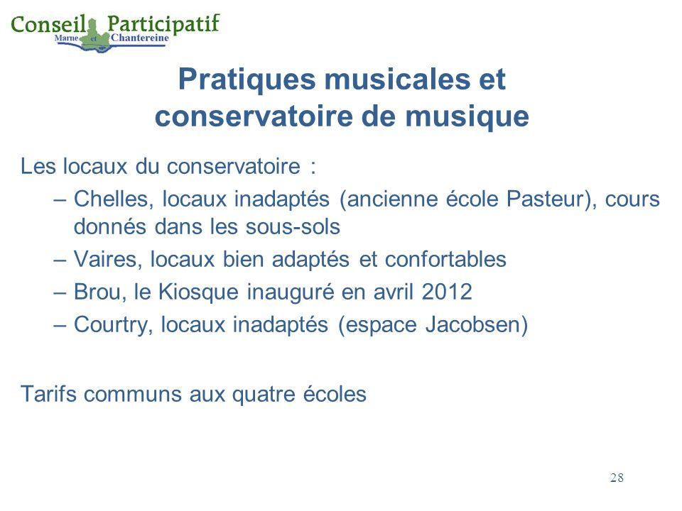 28 Pratiques musicales et conservatoire de musique Les locaux du conservatoire : –Chelles, locaux inadaptés (ancienne école Pasteur), cours donnés dan