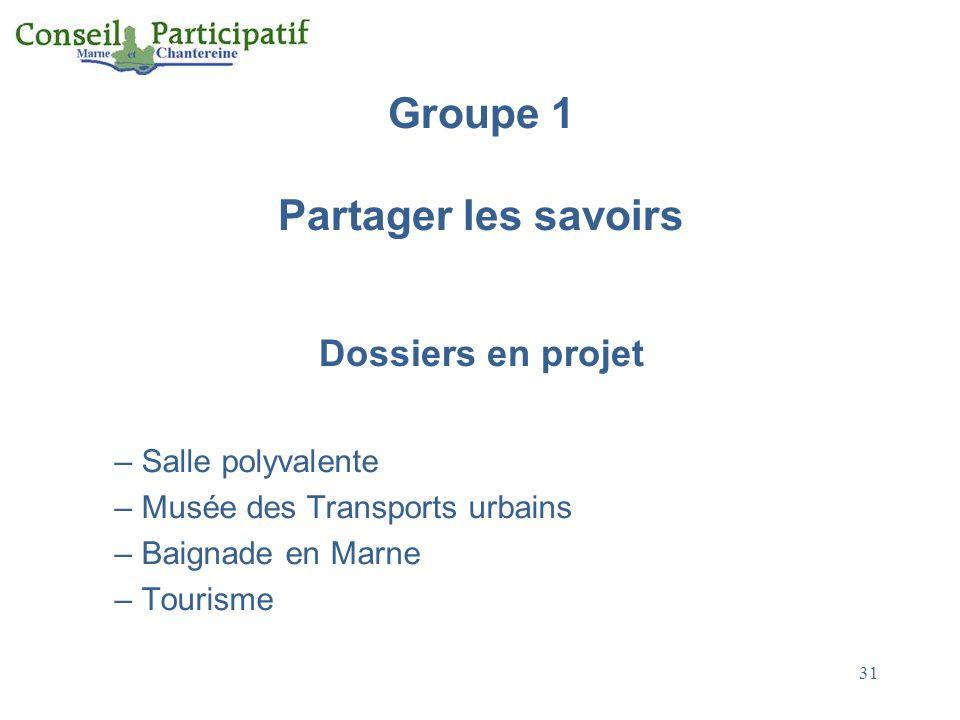 31 Groupe 1 Partager les savoirs Dossiers en projet – Salle polyvalente – Musée des Transports urbains – Baignade en Marne – Tourisme