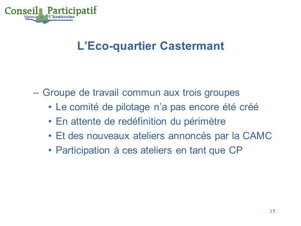 LEco-quartier Castermant –Groupe de travail commun aux trois groupes Le comité de pilotage na pas encore été créé En attente de redéfinition du périmètre Et des nouveaux ateliers annoncés par la CAMC Participation à ces ateliers en tant que CP 35