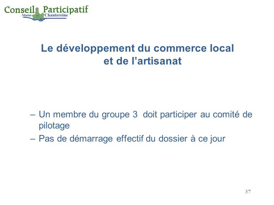 Le développement du commerce local et de lartisanat –Un membre du groupe 3 doit participer au comité de pilotage –Pas de démarrage effectif du dossier à ce jour 37