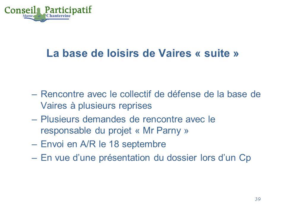 La base de loisirs de Vaires « suite » –Rencontre avec le collectif de défense de la base de Vaires à plusieurs reprises –Plusieurs demandes de rencontre avec le responsable du projet « Mr Parny » –Envoi en A/R le 18 septembre –En vue dune présentation du dossier lors dun Cp 39