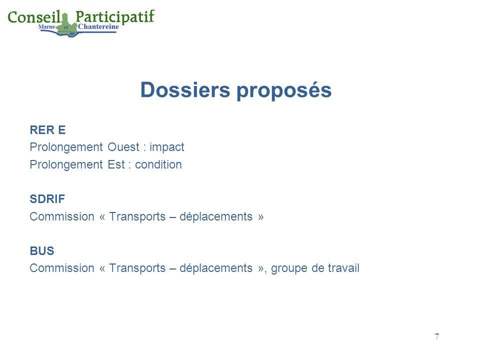 7 Dossiers proposés RER E Prolongement Ouest : impact Prolongement Est : condition SDRIF Commission « Transports – déplacements » BUS Commission « Transports – déplacements », groupe de travail