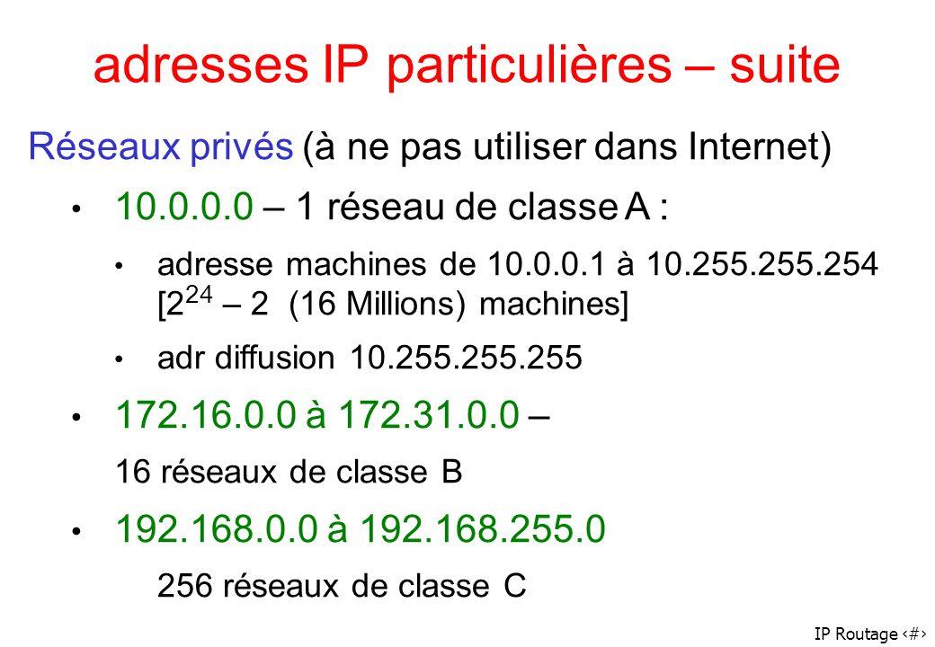 IP Routage 15 adresses IP particulières – suite Réseaux privés (à ne pas utiliser dans Internet) 10.0.0.0 – 1 réseau de classe A : adresse machines de