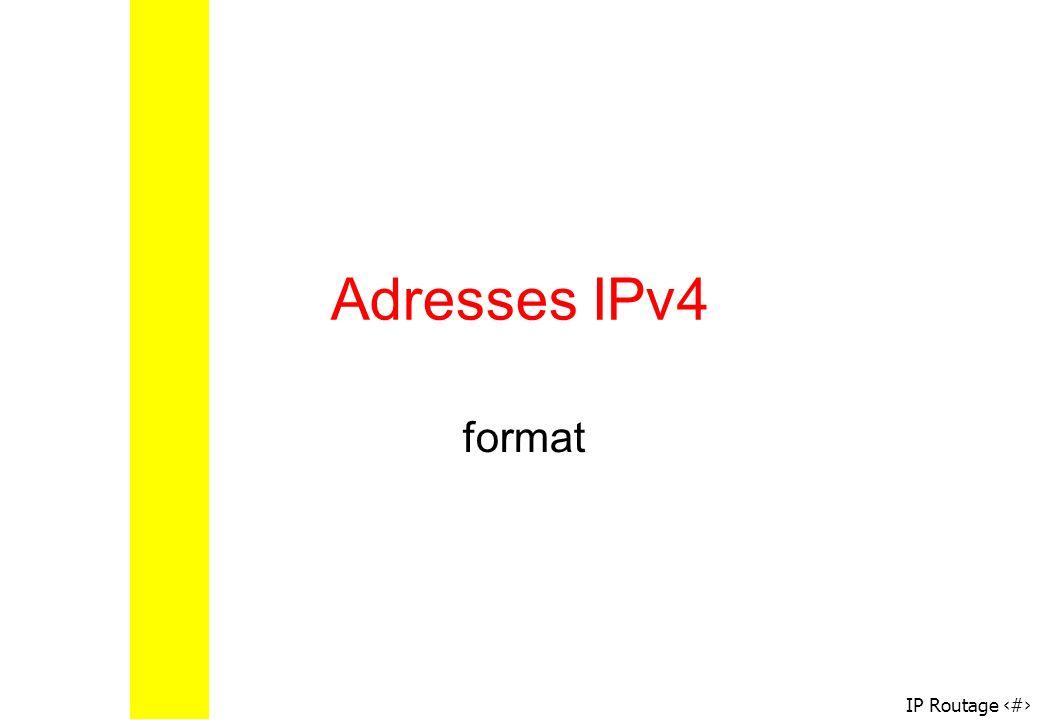 IP Routage 3 Taille : 4 octets Notation décimale pointée: xxx.xxx.xxx.xxx où chaque xxx représente un entier de 0 à 255 Adresses IP servent aux ordinateurs du réseau pour se reconnaître Il ne doit pas exister deux machines, dans Internet ayant la même adresse IP Format des adresses IP 100010110010100110010011 00110101 139.41.147.53