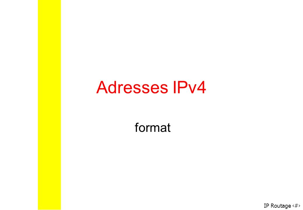 IP Routage 23 Adresse machine/adresse sous-réseaux Adresse 172.20.128.85 masque du sous-réseau : 255.255.128.0 : on peut obtenir ladresse du sous- réseau 101011000001010010000000 00000000 101011000001010010000000 01010101 11111111 10000000 00000000 ET logique