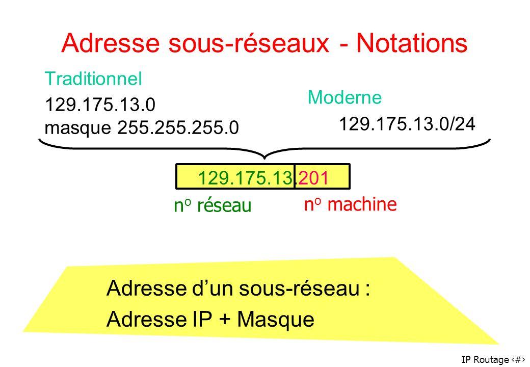 IP Routage 21 Adresse sous-réseaux - Notations Traditionnel 129.175.13.0 masque 255.255.255.0 Moderne 129.175.13.0/24 129.175.13.201 n o réseau n o ma
