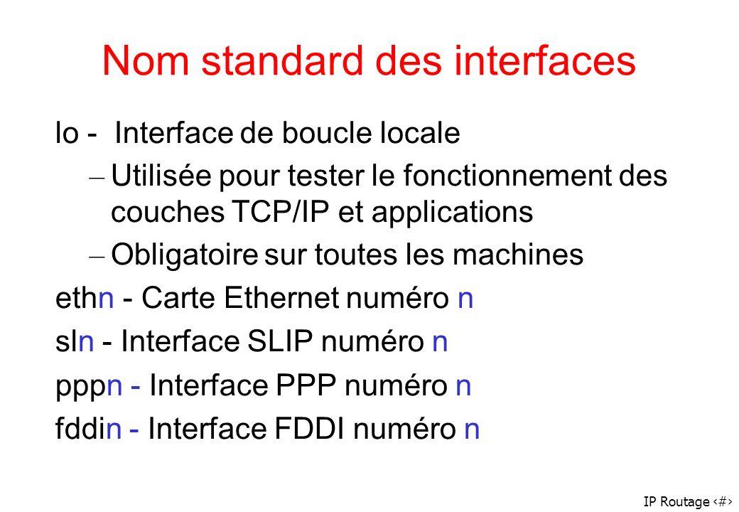 IP Routage 29 Nom standard des interfaces lo - Interface de boucle locale – Utilisée pour tester le fonctionnement des couches TCP/IP et applications