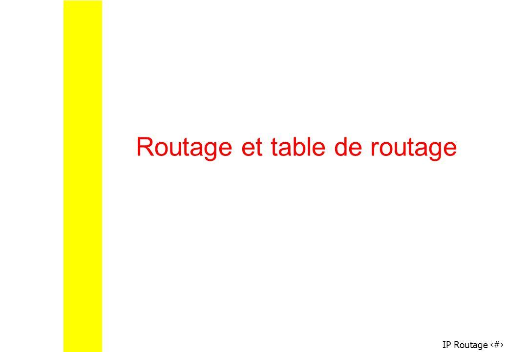 IP Routage 38 Routage et table de routage
