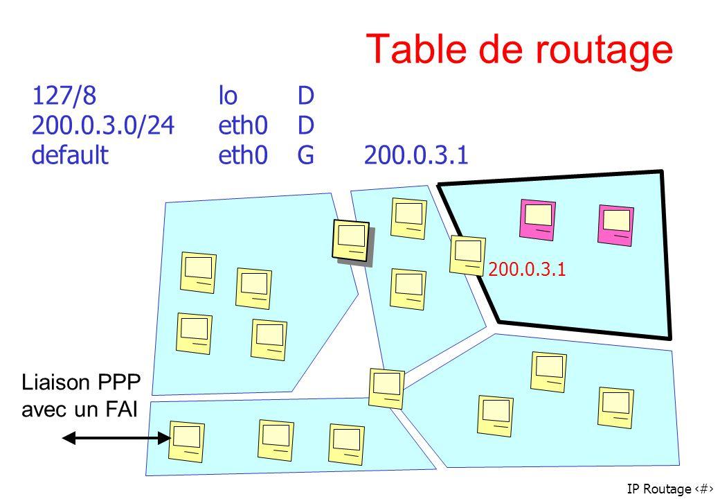 IP Routage 44 Table de routage 127/8loD 200.0.3.0/24eth0D defaulteth0G200.0.3.1 Liaison PPP avec un FAI 200.0.3.1