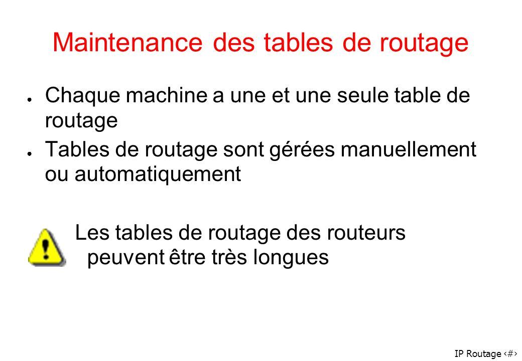 IP Routage 48 Maintenance des tables de routage Chaque machine a une et une seule table de routage Tables de routage sont gérées manuellement ou autom