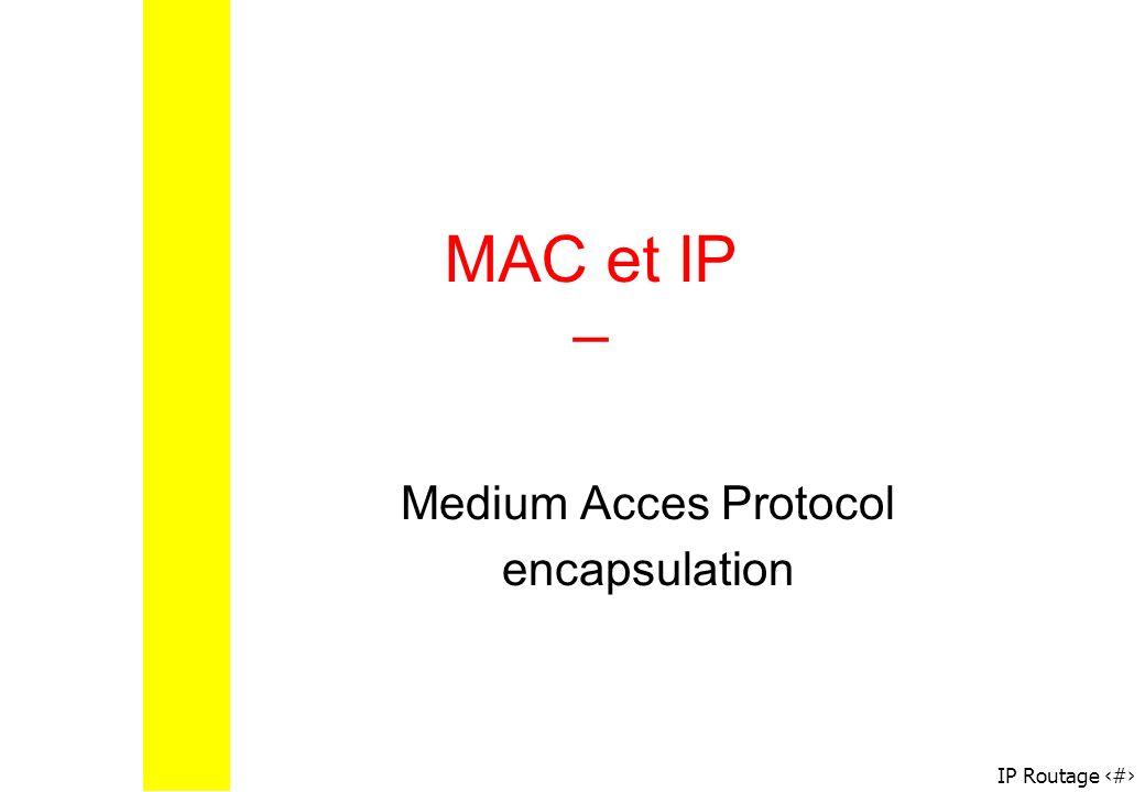 IP Routage 52 MAC et IP – Medium Acces Protocol encapsulation