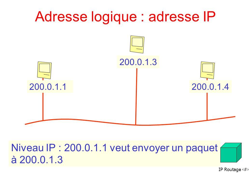IP Routage 54 Adresse logique : adresse IP 200.0.1.1200.0.1.4 200.0.1.3 Niveau IP : 200.0.1.1 veut envoyer un paquet à 200.0.1.3