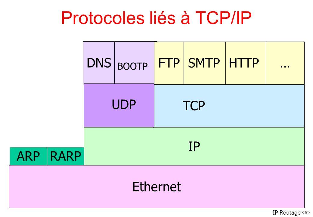 IP Routage 70 DNS BOOTP IP Protocoles liés à TCP/IP TCPEthernetFTPHTTP…SMTP ARP RARP UDP