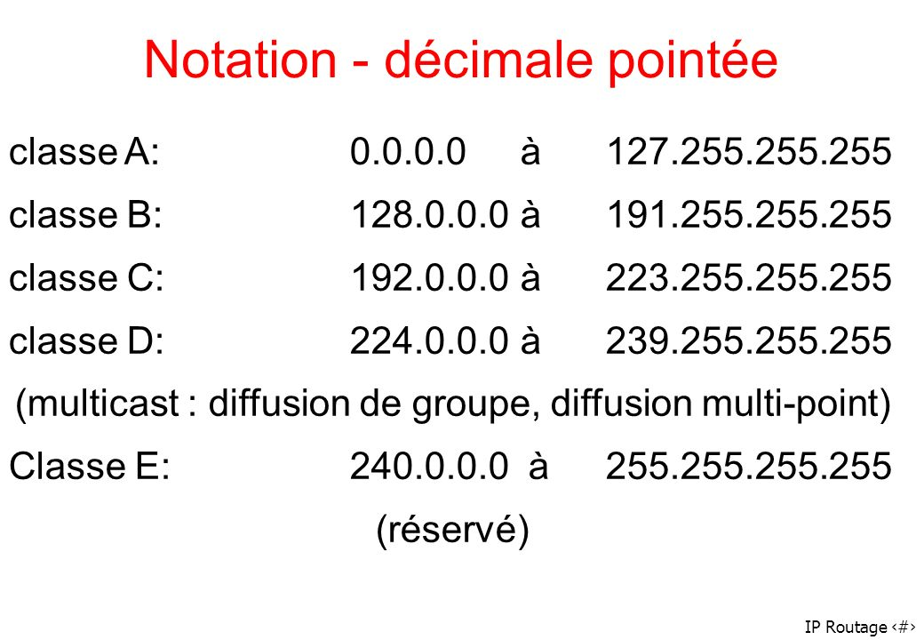 IP Routage 9 classe A: 0.0.0.0 à 127.255.255.255 classe B: 128.0.0.0 à 191.255.255.255 classe C: 192.0.0.0 à 223.255.255.255 classe D: 224.0.0.0 à 239