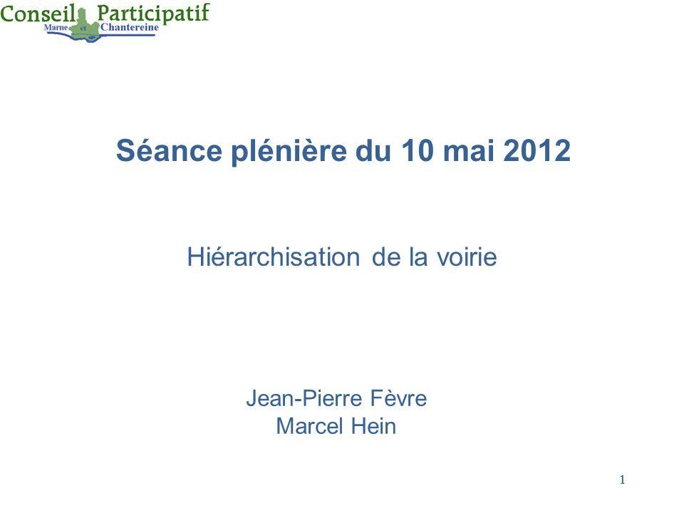1 1 Séance plénière du 10 mai 2012 Hiérarchisation de la voirie Jean-Pierre Fèvre Marcel Hein