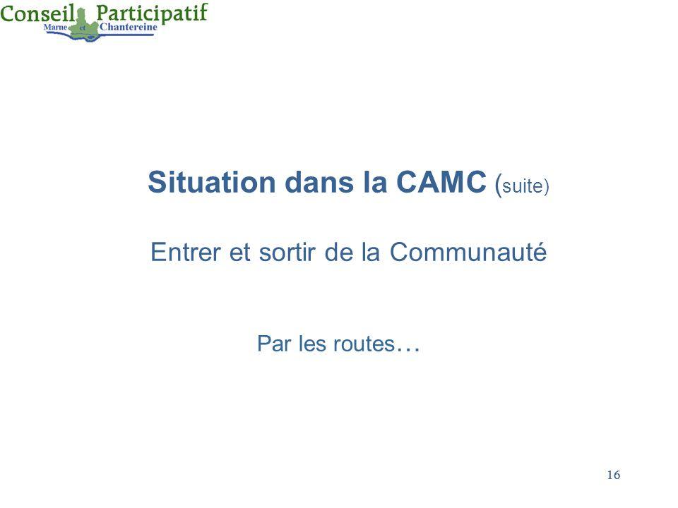 16 Situation dans la CAMC ( suite) Entrer et sortir de la Communauté Par les routes …
