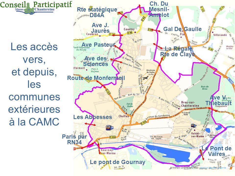 17 Les accès vers, et depuis, les communes extérieures à la CAMC Ch. Du Mesnil- Amelot Gal De Gaulle La Régale Rte de Claye, Ave V. Thiébault Le Pont