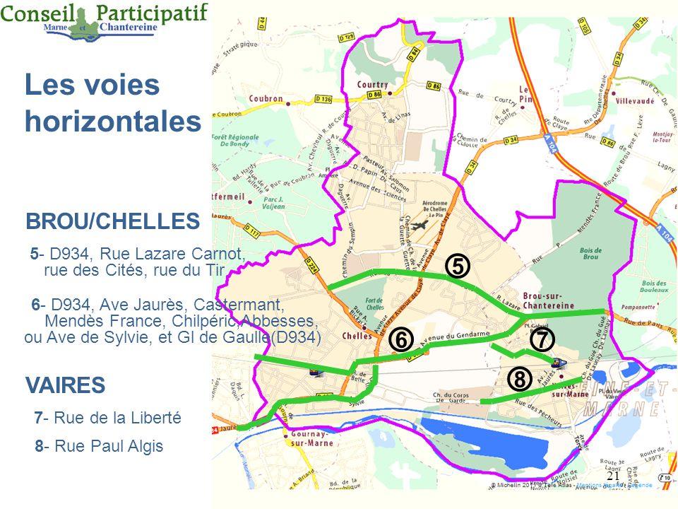 21 7- Rue de la Liberté VAIRES 8- Rue Paul Algis Les voies horizontales BROU/CHELLES 5- D934, Rue Lazare Carnot, rue des Cités, rue du Tir 6- D934, Av