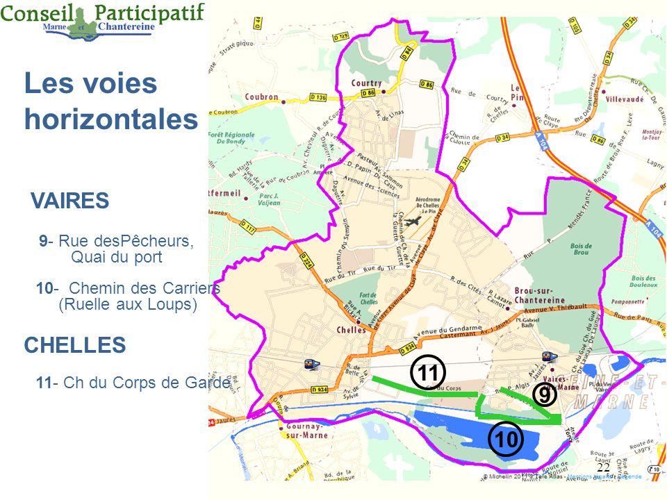22 Les voies horizontales 9- Rue desPêcheurs, Quai du port CHELLES VAIRES 10- Chemin des Carriers (Ruelle aux Loups) 11- Ch du Corps de Garde 9 10 11