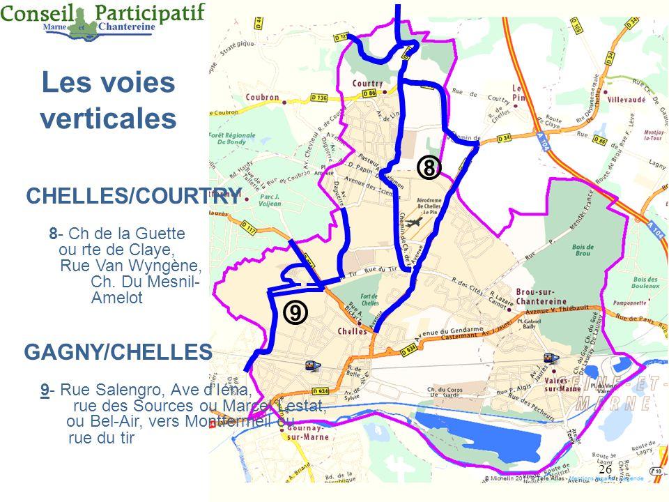 26 Les voies verticales CHELLES/COURTRY 8- Ch de la Guette ou rte de Claye, Rue Van Wyngène, Ch. Du Mesnil- Amelot GAGNY/CHELLES 9- Rue Salengro, Ave