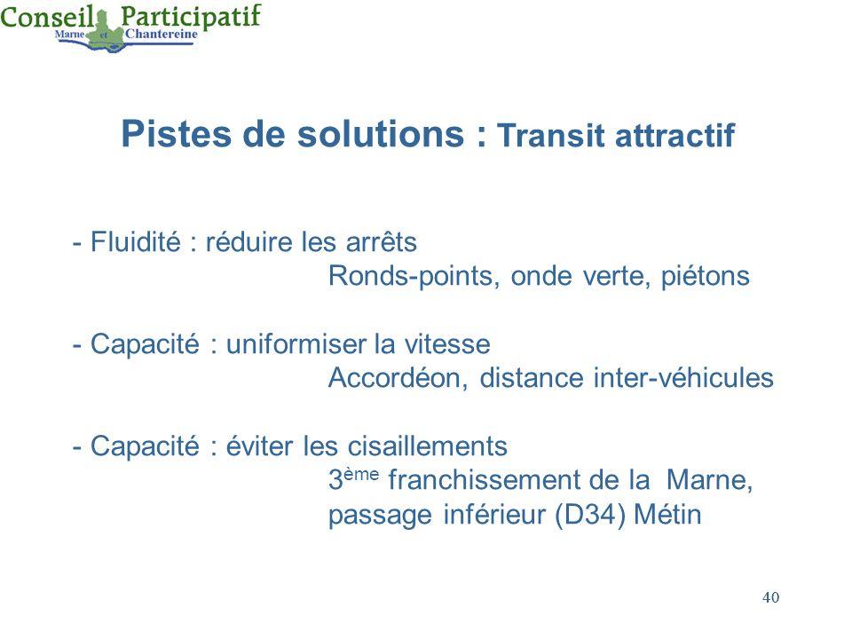 40 Pistes de solutions : Transit attractif - Fluidité : réduire les arrêts Ronds-points, onde verte, piétons - Capacité : uniformiser la vitesse Accor