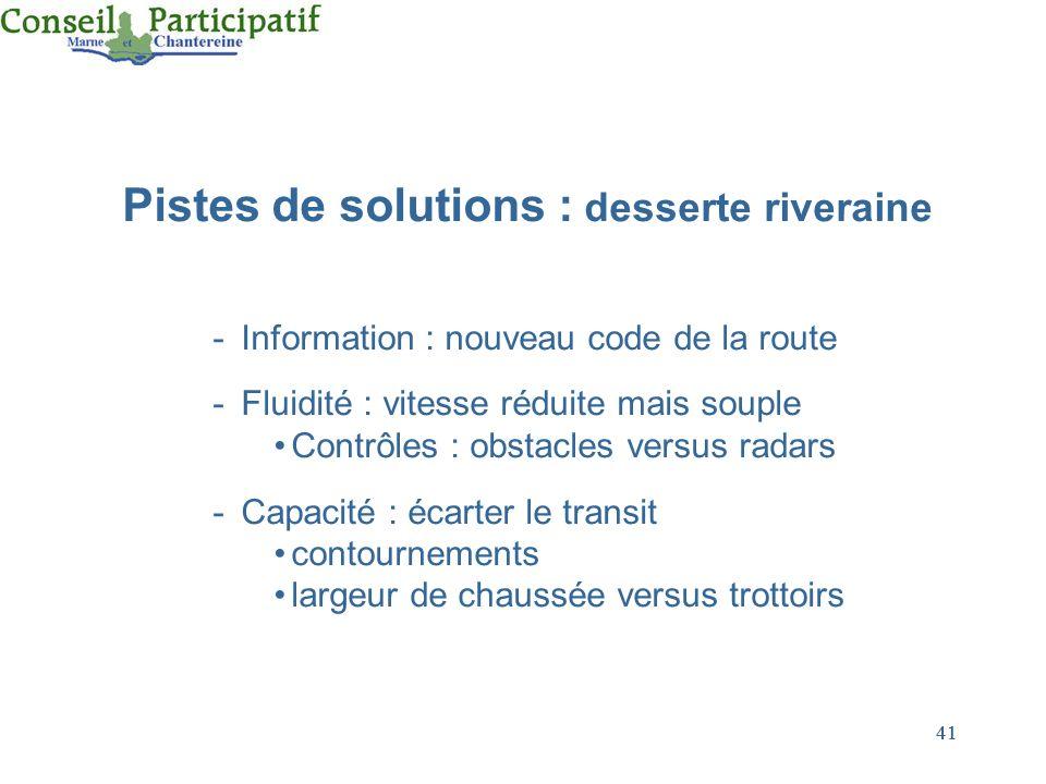 41 Pistes de solutions : desserte riveraine -Information : nouveau code de la route -Fluidité : vitesse réduite mais souple Contrôles : obstacles vers