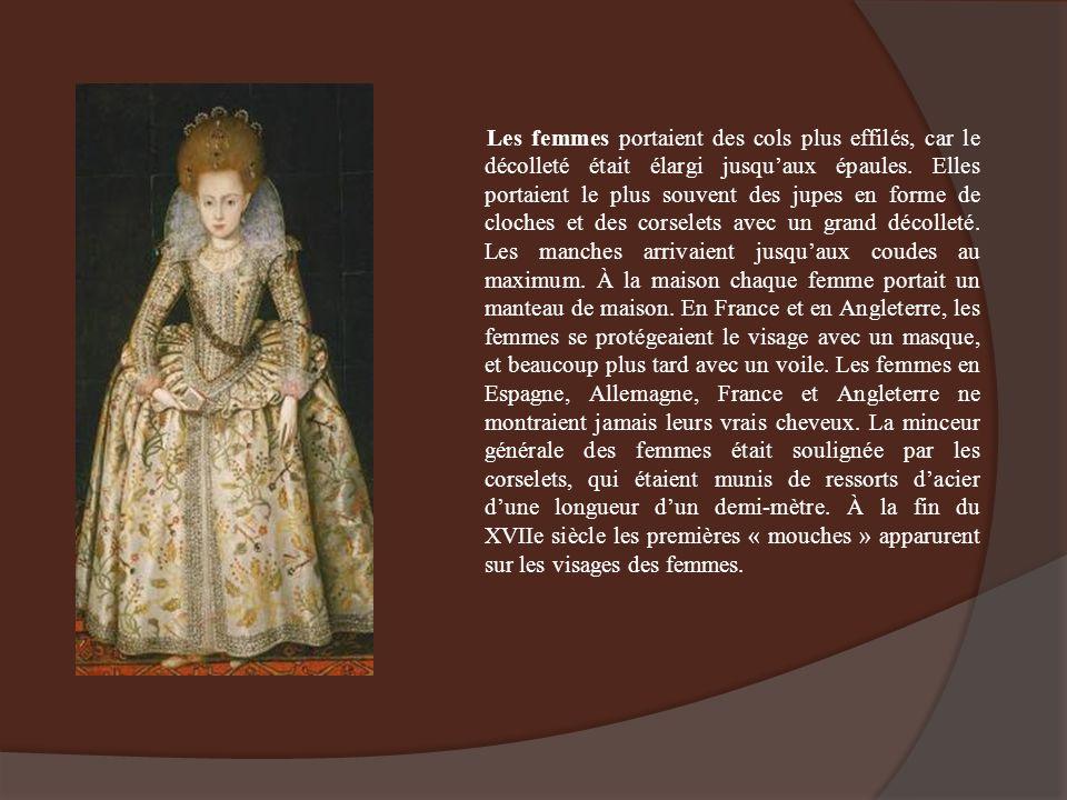 Les femmes portaient des cols plus effilés, car le décolleté était élargi jusquaux épaules. Elles portaient le plus souvent des jupes en forme de cloc