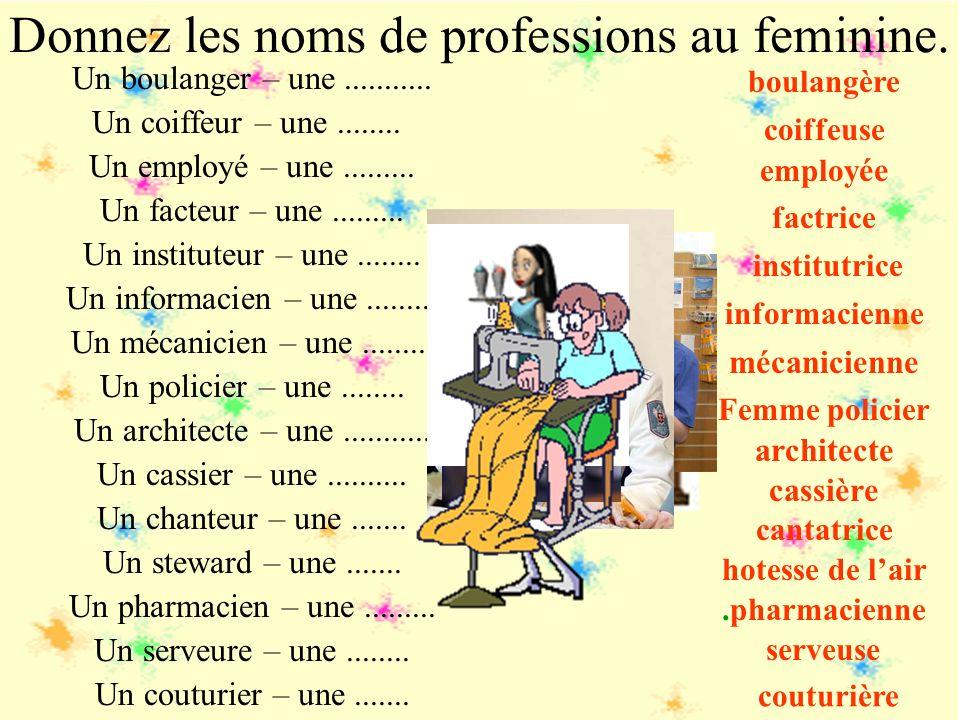 Женский род образуется точно так же, но прибавлением к глагольной основе суффикса – -euse, -atrice, -trice : tradui-re +trice = traductrice - переводч