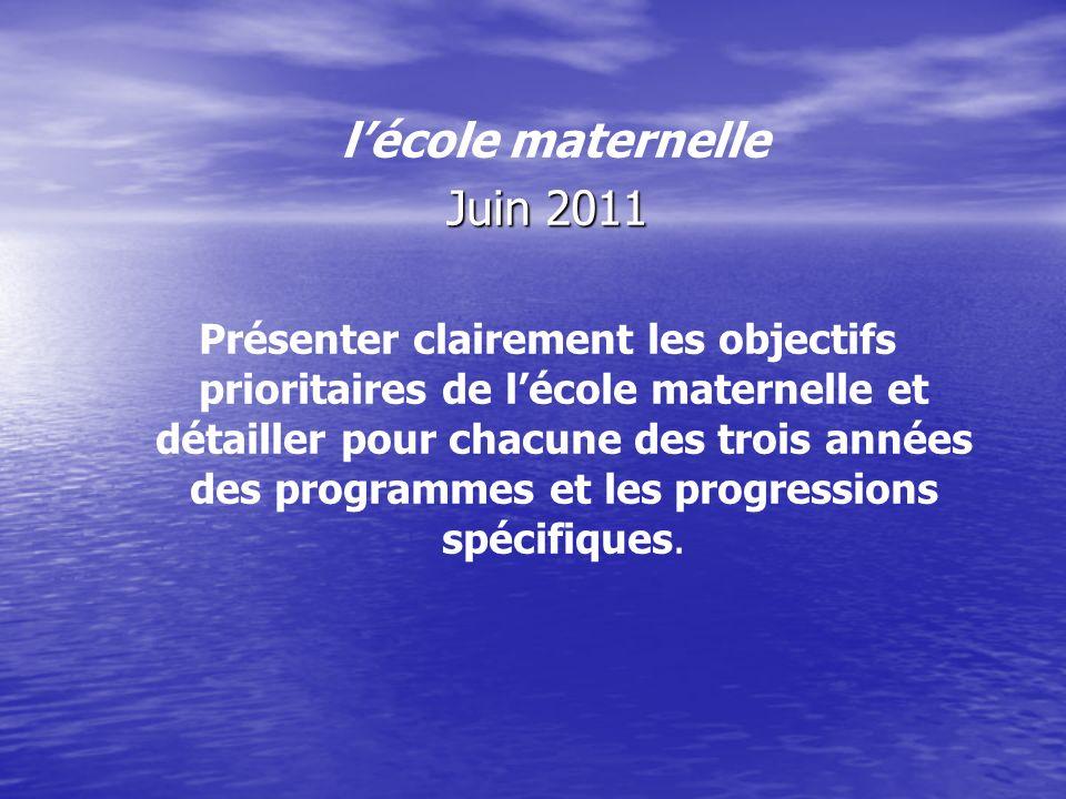 lécole maternelle Juin 2011 Présenter clairement les objectifs prioritaires de lécole maternelle et détailler pour chacune des trois années des progra
