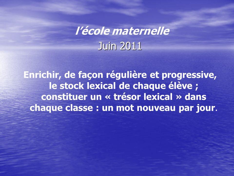 lécole maternelle Juin 2011 Enrichir, de façon régulière et progressive, le stock lexical de chaque élève ; constituer un « trésor lexical » dans chaq