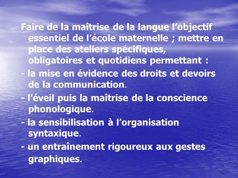 Faire de la maîtrise de la langue lobjectif essentiel de lécole maternelle ; mettre en place des ateliers spécifiques, obligatoires et quotidiens perm