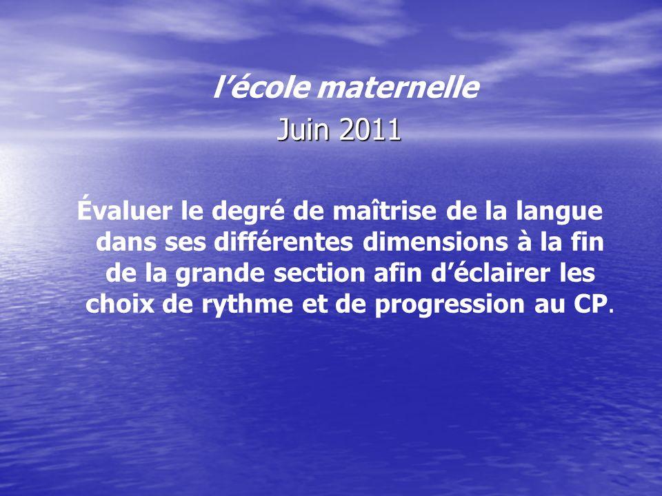 lécole maternelle Juin 2011 Évaluer le degré de maîtrise de la langue dans ses différentes dimensions à la fin de la grande section afin déclairer les