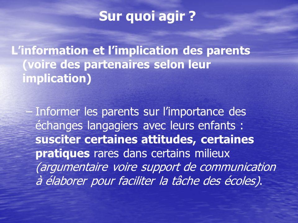 Sur quoi agir ? Linformation et limplication des parents (voire des partenaires selon leur implication) – –Informer les parents sur limportance des éc
