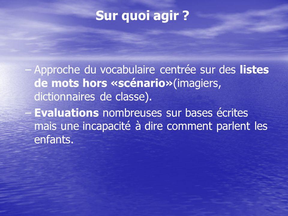 Sur quoi agir ? – –Approche du vocabulaire centrée sur des listes de mots hors «scénario»(imagiers, dictionnaires de classe). – –Evaluations nombreuse