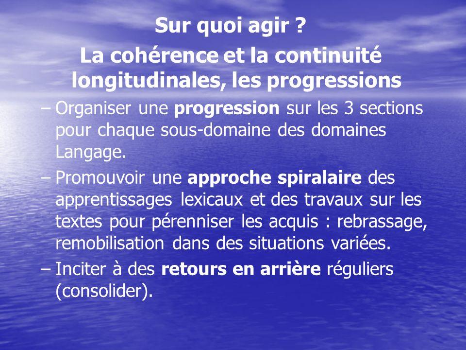Sur quoi agir ? La cohérence et la continuité longitudinales, les progressions – –Organiser une progression sur les 3 sections pour chaque sous-domain